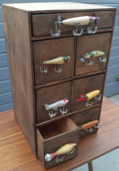 Antique fishing lure cabinet for Fish drawer pulls